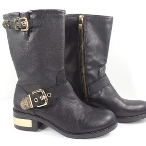 Vince Camuto Winchell Black Leather Boots Size 6